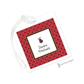 Black Dots Red ID Tag