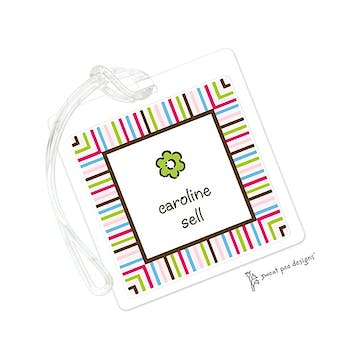 Multi Stripes Pink & Chocolate ID Tag