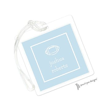 Classic Border White On Pastel Blue ID Tag