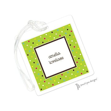 Sprinkle Dots Lime ID Tag