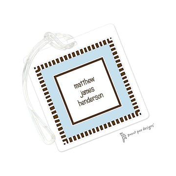 Striped Edge Chocolate & Blue ID Tag