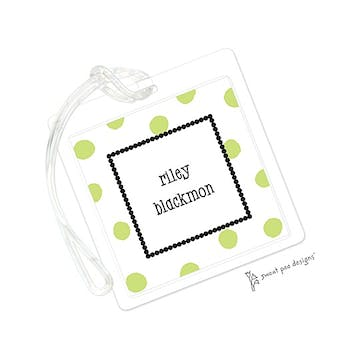 Big Dots Lime & Dotted Border ID Tag