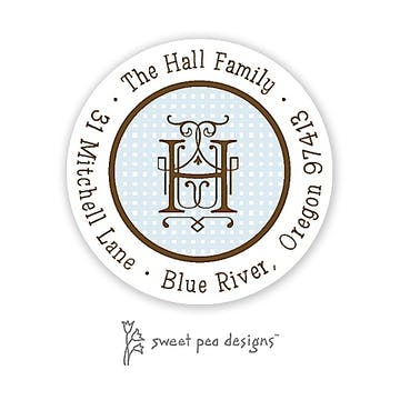 Linen Blue And Chocolate Round Return Address Sticker