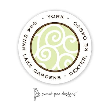 Scrollwork Lime And Chocolate Round Return Address Sticker