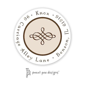 Simple Latte & Chocolate Round Return Address Sticker