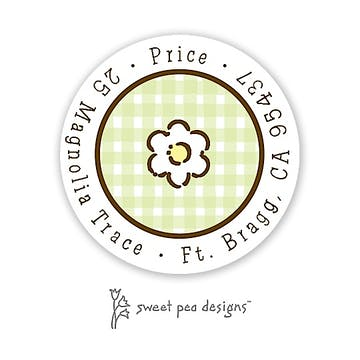 Gingham Lime And Chocolate Round Return Address Sticker