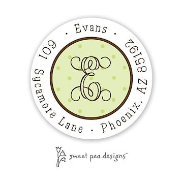 Tiny Dots Lime On Lime And Chocolate Round Return Address Sticker