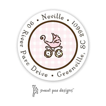Gingham Pink & Chocolate Round Return Address Sticker