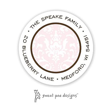 Damask Pink And Chocolate Round Return Address Sticker