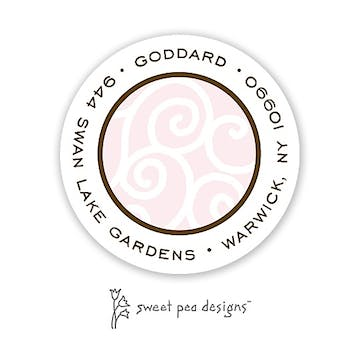 Scrollwork Pink & Chocolate Round Return Address Sticker