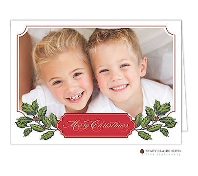 Holly Bough Holiday Folded Photo Card