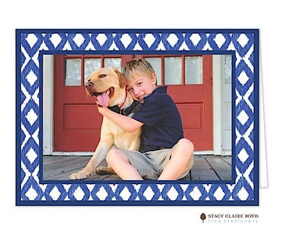Handpainted Ikat Holiday Folded Photo Card