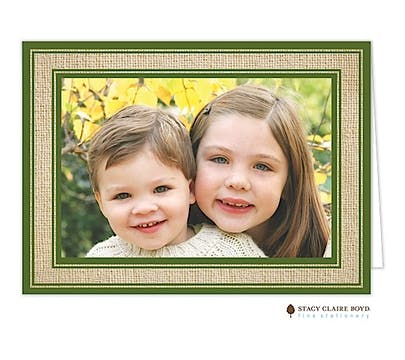 Burlap Border - Green Holiday Folded Photo Card