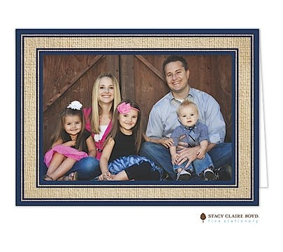 Burlap Border - Navy Holiday Folded Photo Card