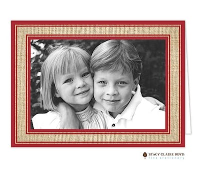 Burlap Border - Red Holiday Folded Photo Card
