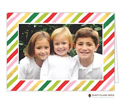 Fun Stripes Holiday Folded Photo Card