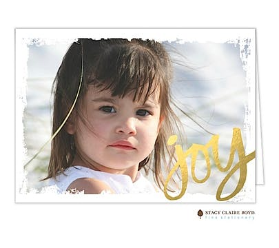 Joy (Faux) Foil Holiday Folded Photo Card