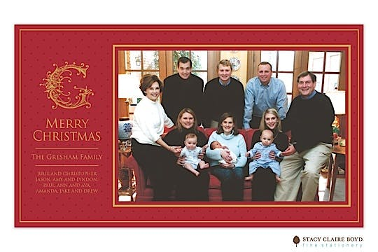 Holiday Elegance - Red Print & Apply Holiday Flat Photo Card