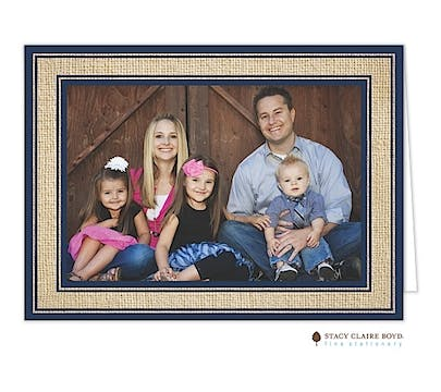 Burlap Border - Navy Print & Apply Holiday Folded Photo Card