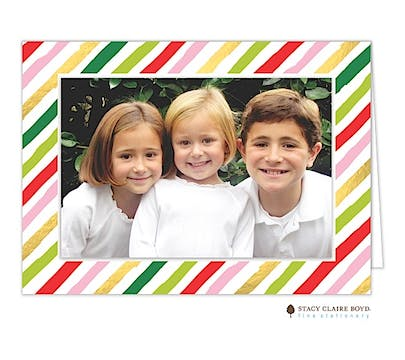 Fun Stripes Print & Apply Holiday Folded Photo Card