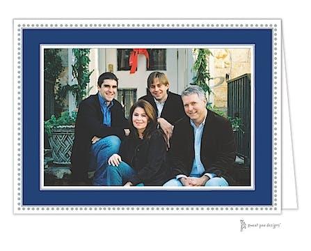 Antique Bead Border Holiday Folded Photo Card