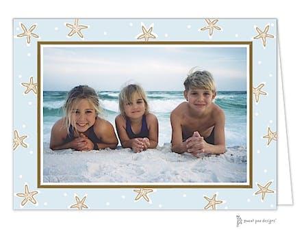 Starfish Blue Holiday Folded Photo Card