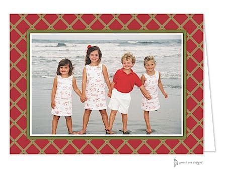 Square Diamonds Red Christmas Folded Photo Card