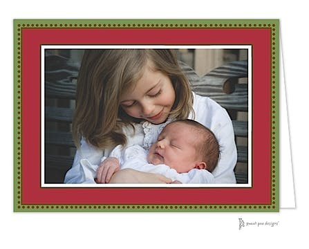Antique Bead Border Christmas Folded Photo Card