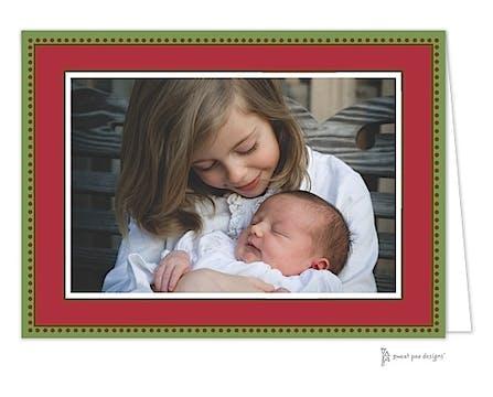 Antique Bead Border Christmas Folded Photo Card