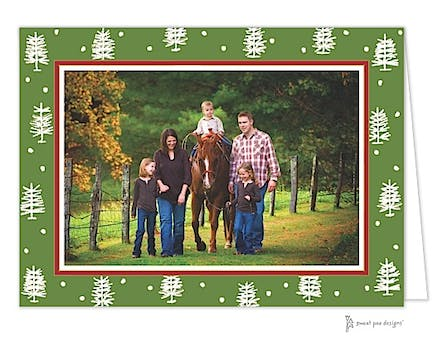 Winter Forest Green Christmas Folded Photo Card