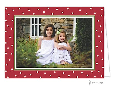 Holiday Dots Red Christmas Folded Photo Card