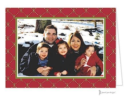 Fleur De Lis Red Christmas Folded Photo Card