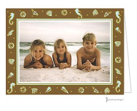 Beach Aqua Holiday Folded Photo Card