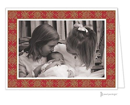 Damask & Dots Christmas Folded Photo Card