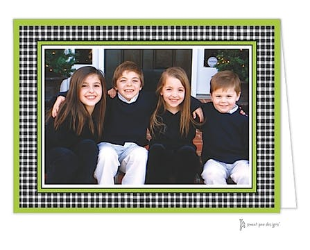 Gingham Black Christmas Folded Photo Card
