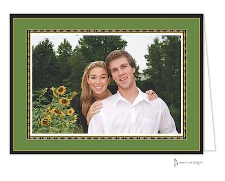 Rice Bead Border Christmas Folded Photo Card