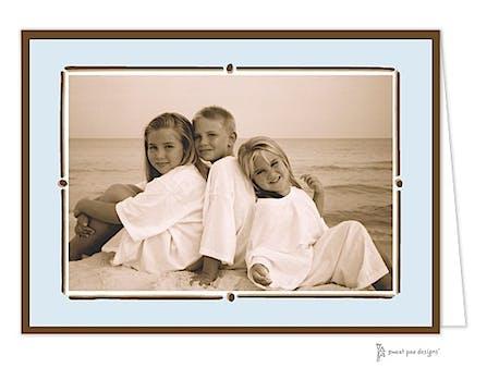 Vintage Frame Blue Holiday Folded Photo Card