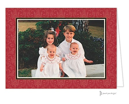 Damask Red On Red Christmas Folded Photo Card