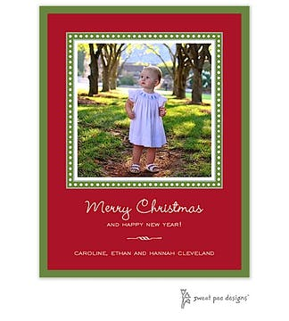 Dotted Border Red & Green Christmas Flat Photo Card