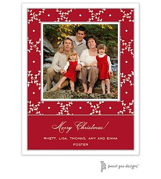 Trellis Red & White Christmas Flat Photo Card