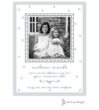 Stars & Checks Silver Holiday Flat Photo Card