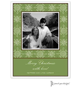 Damask & Dots Green Christmas Flat Photo Card