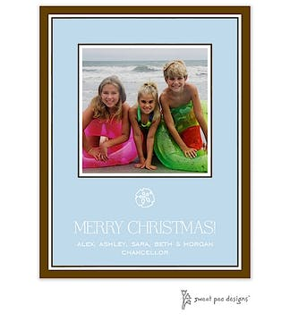 Simple Border Blue On Chocolate Holiday Flat Photo Card