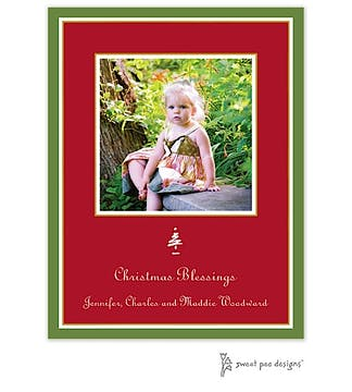 Simple Border Green On Red Christmas Flat Photo Card