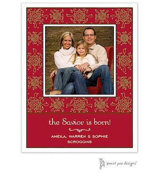Damask & Dots Red & Gold Christmas Flat Photo Card