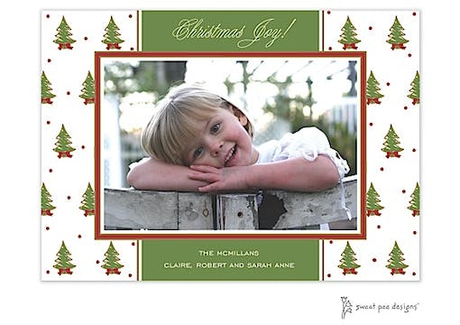 Christmas Trees Red Christmas Flat Photo Card