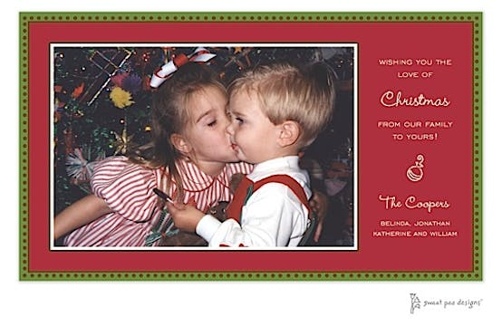 Antique Bead Border Red & Green Christmas Flat Photo Card