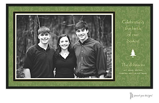Damask Green On Green Christmas Flat Photo Card