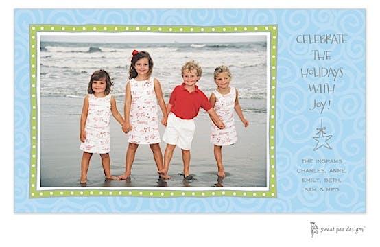 Swirls Blue Holiday Flat Photo Card