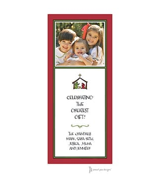 Classic Green Border On Red & White Christmas Flat Photo Card
